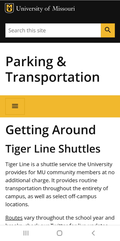 Mobile screen shot of Mizzou Tiger Line Shuttles website.