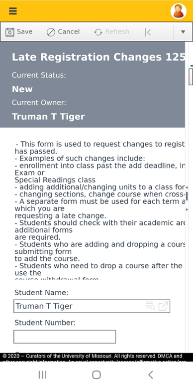 Mobile screen shot of online form to submit to late add a class after the semester has started