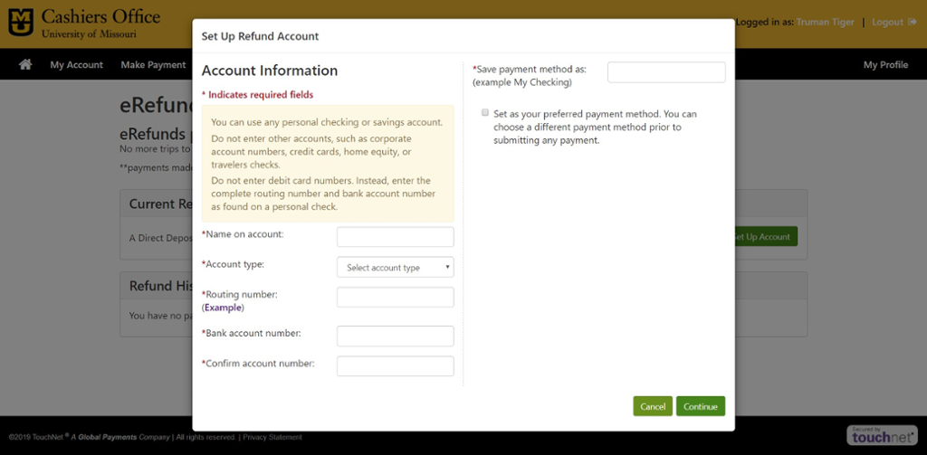 Screen shot of Refund Account Set up on Touch Net.