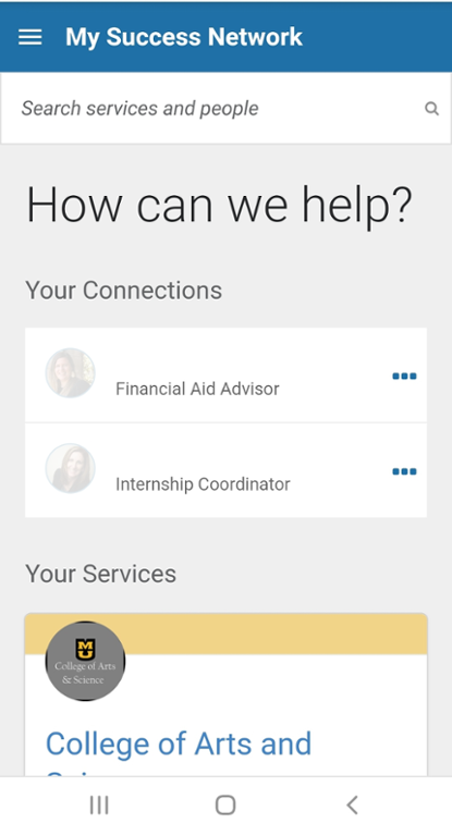 Mobile screen shot of MU Connect make an appointment
