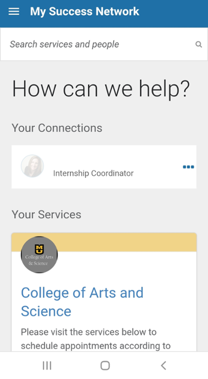 Mobile screen shot of MU Connect Success Network
