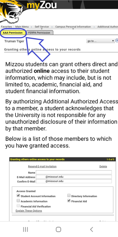 Mobile screen shot of AAA Permission within my zou.