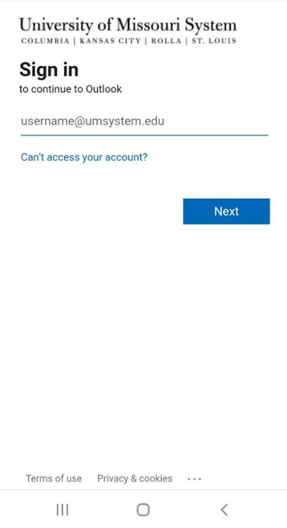 Mobile screen shot of Outlook login page for Mizzou Email.