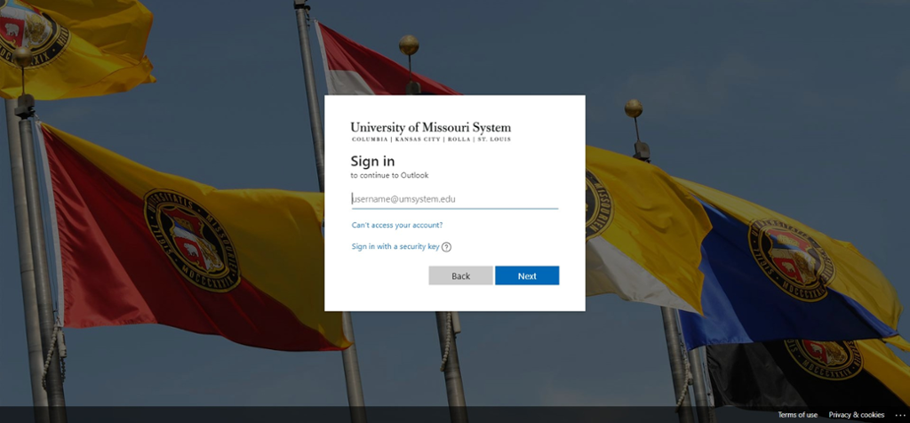 Screen shot of Outlook login page for Mizzou Email.