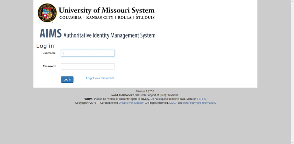 Screen shot of Mizzou Student Email login page.