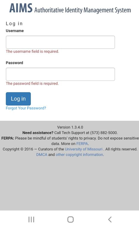 Mobile screen shot of Mizzou Student Email login page.