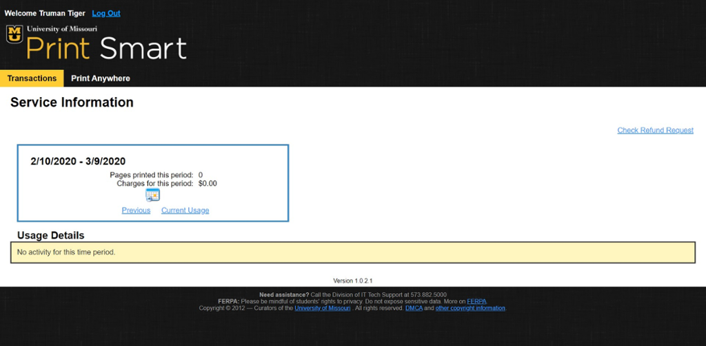 screen shot of print anywhere site after login.