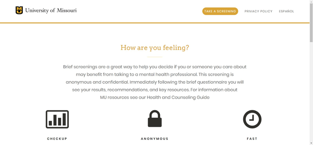 Screen shot of Mizzou Mental Health online assessment website.