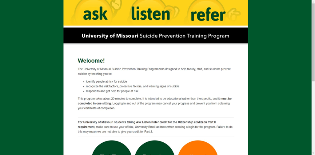 Screen Shot of Mizzou Suicide Prevention Training website.