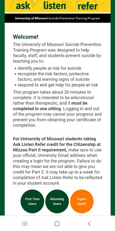 Mobile screen Shot of Mizzou Suicide Prevention Training website.