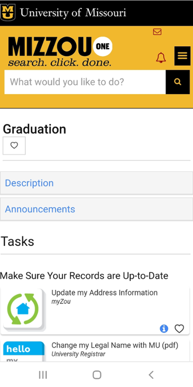 Mobile screen shot of graduation and commencement task center on mizzou one.