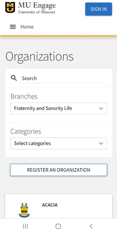Mobile screen shot of list of fraternity and sorority chapters at Mizzou.