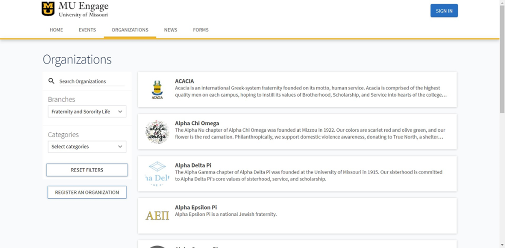 Screen shot of list of fraternity and sorority chapters at Mizzou.