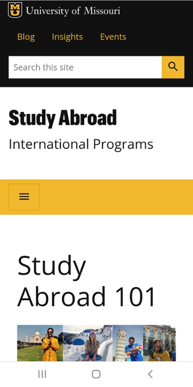 Mobile screen shot of study abroad programs at Mizzou website