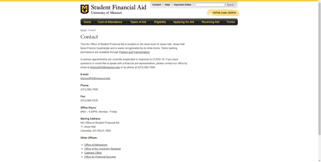 screen shot of mizzou student financial aid contact information website.
