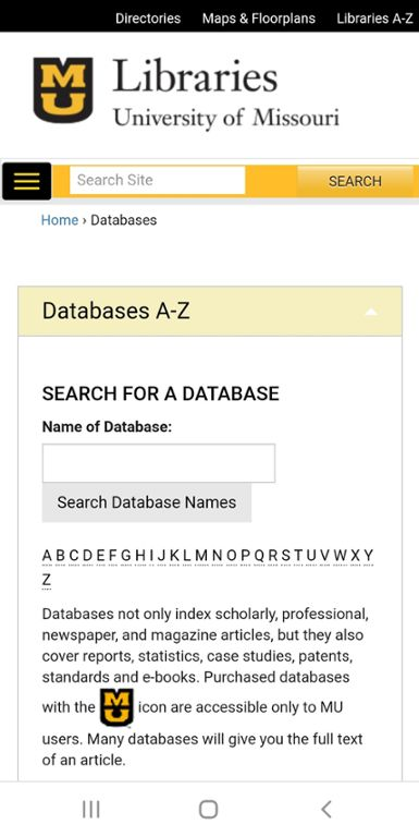 Mobile screen shot of Mizzou website for library database search