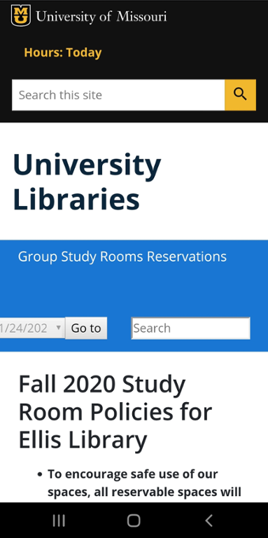Mobile screen shot of Mizzou website to reserve a study room