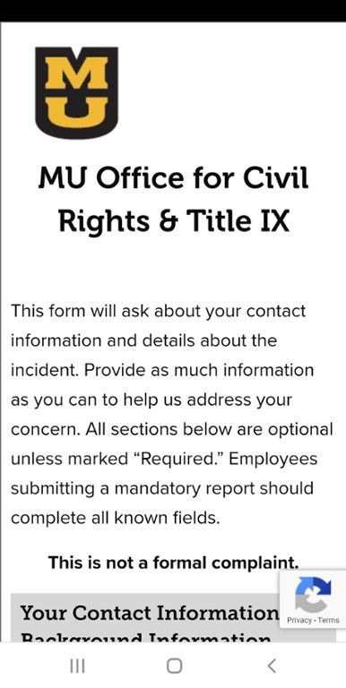 Mobile screen shot of Form for Reporting Discrimination to the MU Office for Civil Rights & Title IX