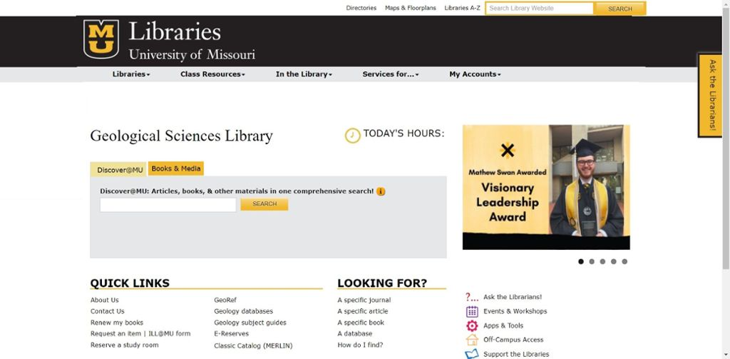 Screenshot of Mizzou website for geology library.