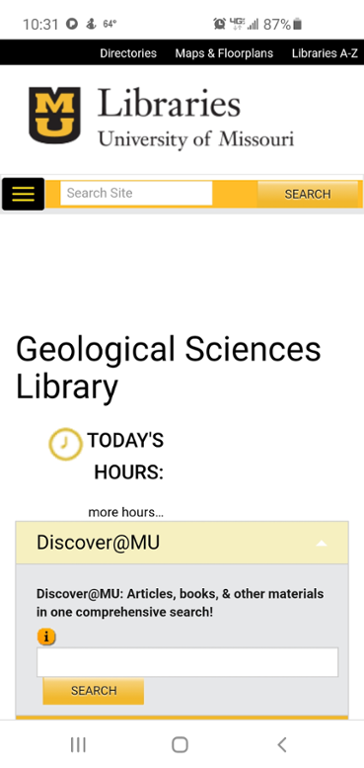 Mobile screen shot of Mizzou website for geology library.