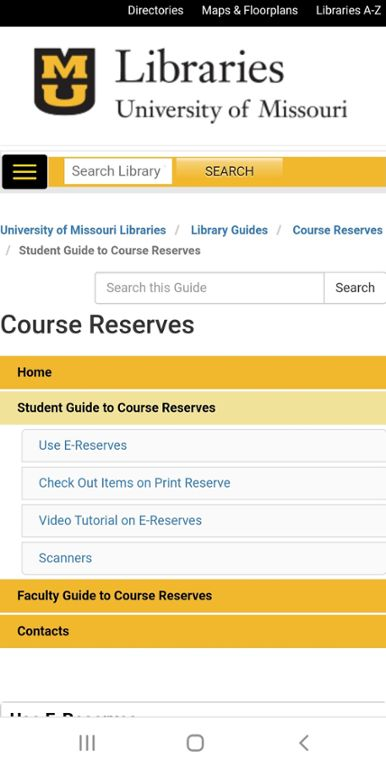 Screenshot of Mizzou website for course reserves