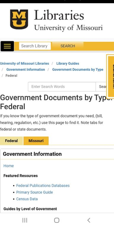 Mobile screenshot of Mizzou website for government documents