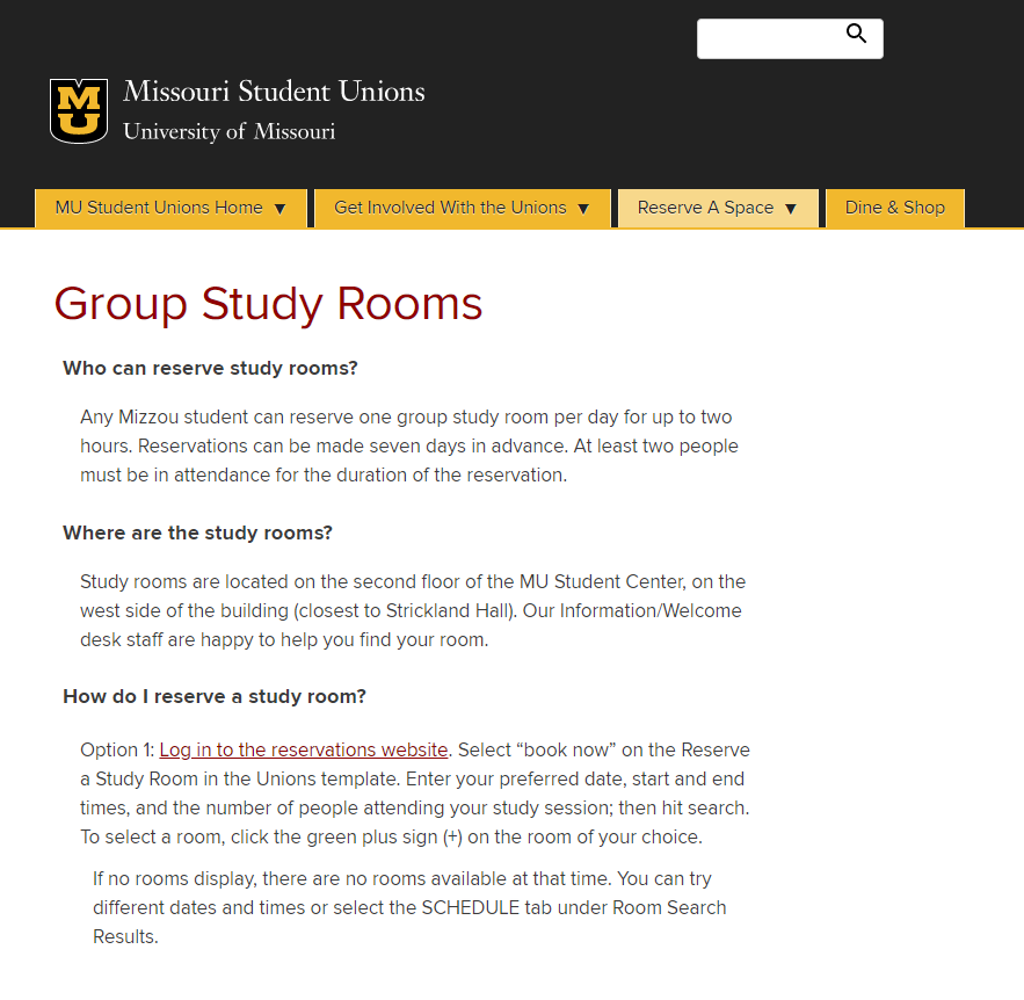 Screenshot of Mizzou website for group study room reservations.