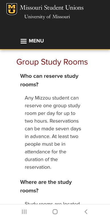Mobile screenshot of Mizzou website for group study room reservations.