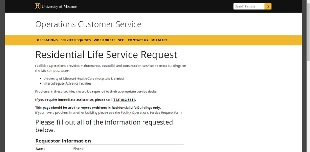 Screen shot of Mizzou Residential Life Service Request web site.