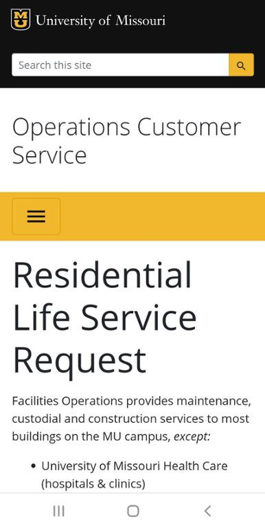 Mobile screen shot of Mizzou Residential Life Service Request web site.