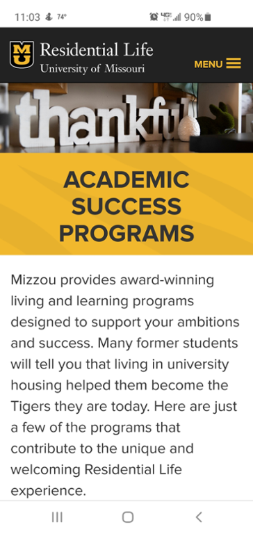 Mobile screen shot of freshman interest groups at mizzou website.