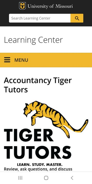 Mobile screen shot of website for Mizzou Accountancy Tiger Tutors