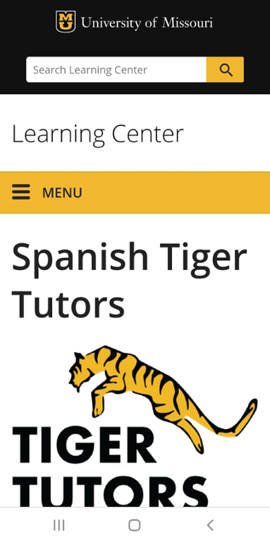 Mobile screen shot of Mizzou Spanish Tiger Tutors website.