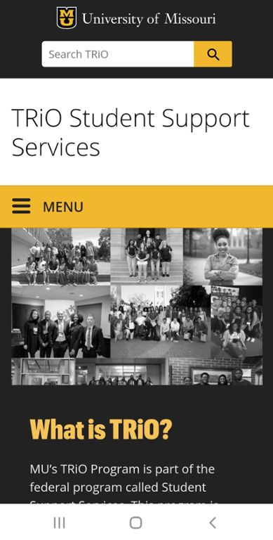 Mobile screen shot of Mizzou TRiO website