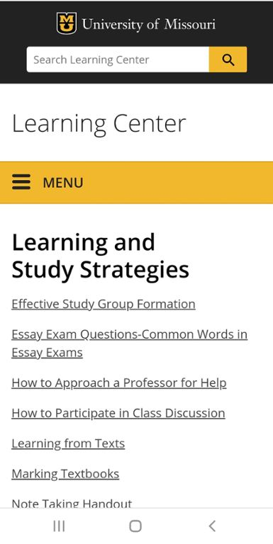 Mobile screenshot of Mizzou learning and study strategies website.