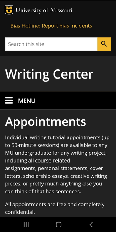 Mobile screen shot of Mizzou writing center appointment website.