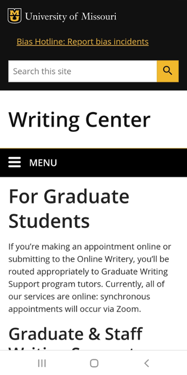 Mobile screen shot of Mizzou Writing Center editors for hire website.