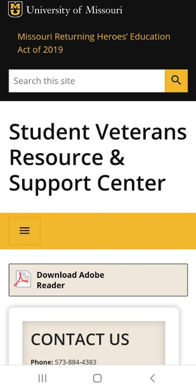 Mobile screen shot of Mizzou Veterans Center Chapter 30 website.