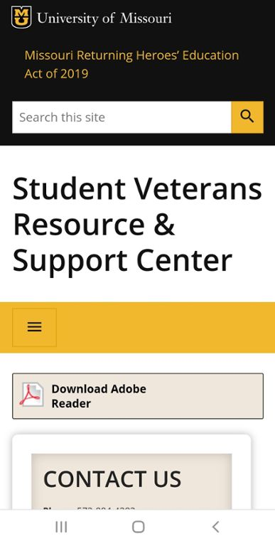 Mobile screen shot of Mizzou website for Chapter 33 Post 9/11 Benefits for dependents.