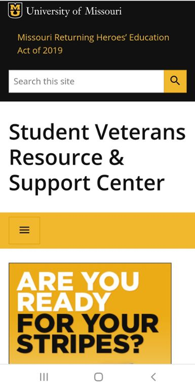 Mobile screen shot of Mizzou Admissions site for Post 9/11 fee waiver.