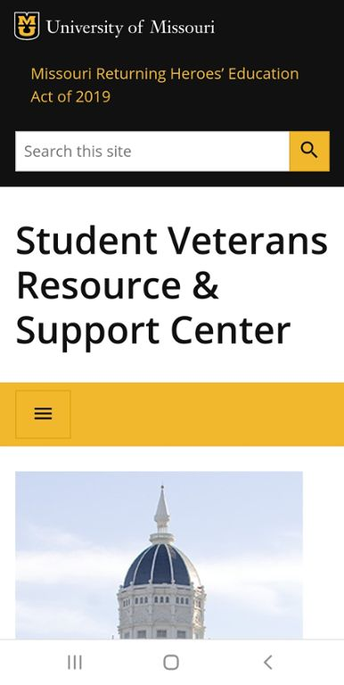 Mobile screen shot of Mizzou Scholarships for Veterans web page.