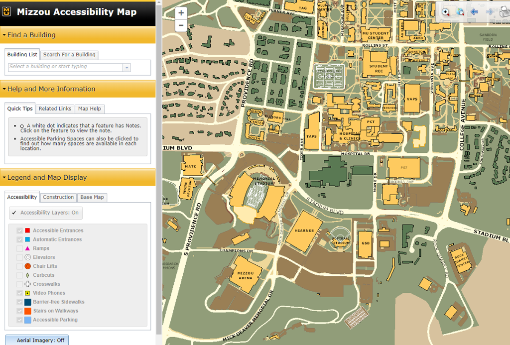 Screenshot of Mizzou Accessibility Map.