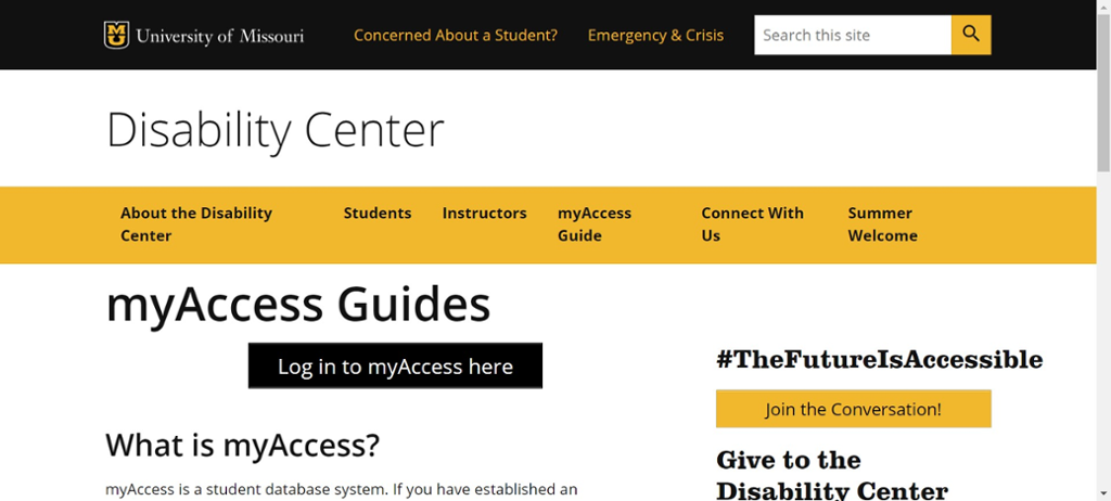 Screenshot of Mizzou Disability Center myAccess Guide Page.