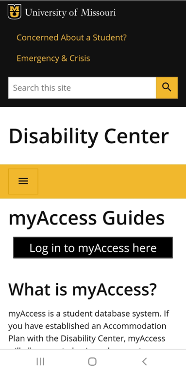 Mobile screenshot of Mizzou Disability Center myAccess Guide Page.