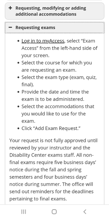 Screenshot of Mizzou Disability Center requesting exams accommodations.