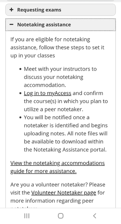 Mobile screen shot of Note taking assistance selection.