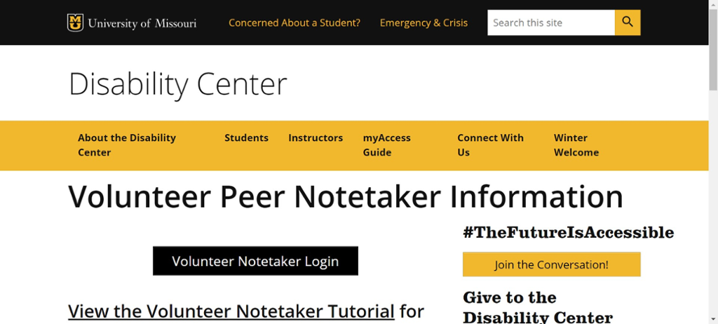 Screen shot of Mizzou site for volunteer note taker information