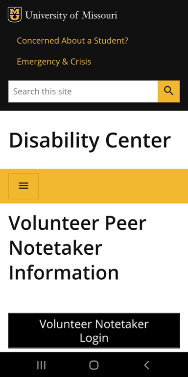 Mobile screen shot of Mizzou site for volunteer note taker information
