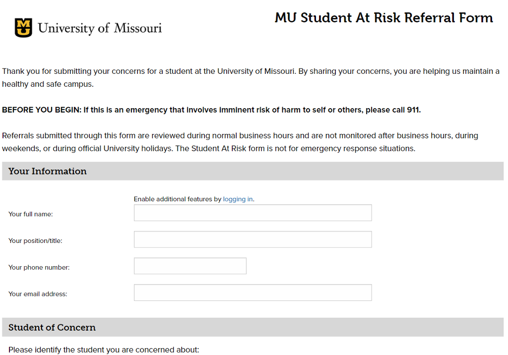 Screenshot of Mizzou Student at Risk Referral Form