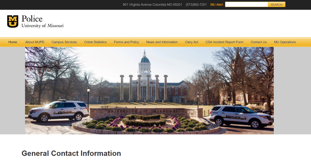 Screenshot of Mizzou Police Department's Contact Information Page.